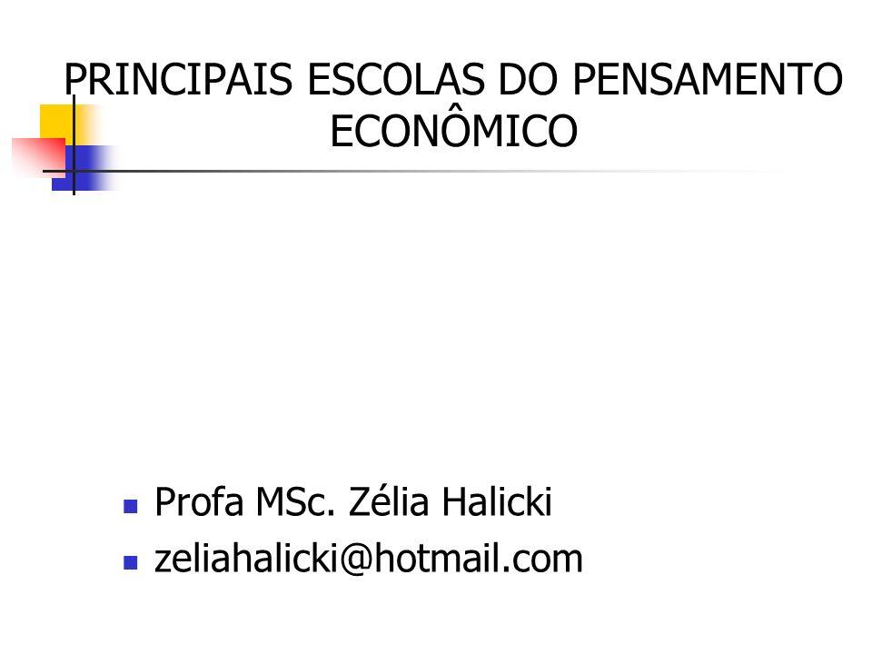 PRINCIPAIS ESCOLAS DO PENSAMENTO ECONÔMICO Profa MSc. Zélia Halicki zeliahalicki@hotmail.com