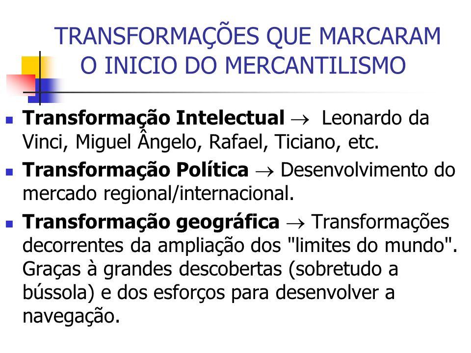 TRANSFORMAÇÕES QUE MARCARAM O INICIO DO MERCANTILISMO Transformação Intelectual Leonardo da Vinci, Miguel Ângelo, Rafael, Ticiano, etc. Transformação