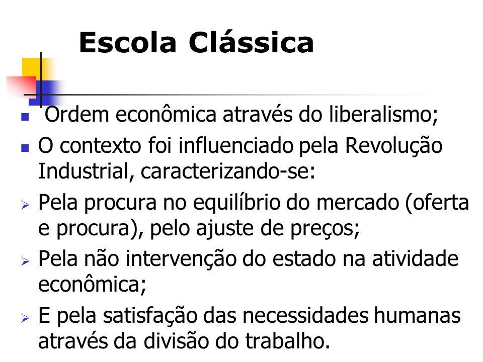 Escola Clássica Adam Smith – pai da economia; Afirmava que a livre concorrência levaria a sociedade à perfeição uma vez que a procura do lucro máximo promove o bem-estar da Comunidade; Concorrência impulsiona o mercado que faz girar a economia.