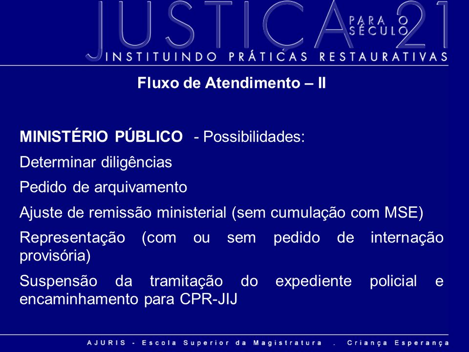 Fluxo de Atendimento – II MINISTÉRIO PÚBLICO - Possibilidades: Determinar diligências Pedido de arquivamento Ajuste de remissão ministerial (sem cumul