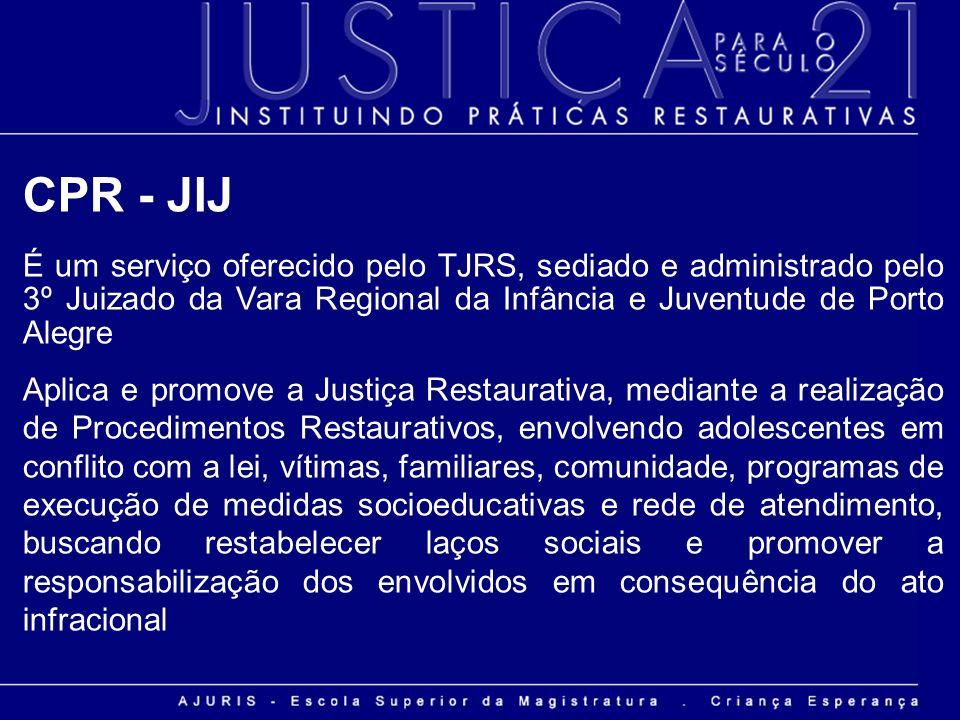 CPR - JIJ É um serviço oferecido pelo TJRS, sediado e administrado pelo 3º Juizado da Vara Regional da Infância e Juventude de Porto Alegre Aplica e p