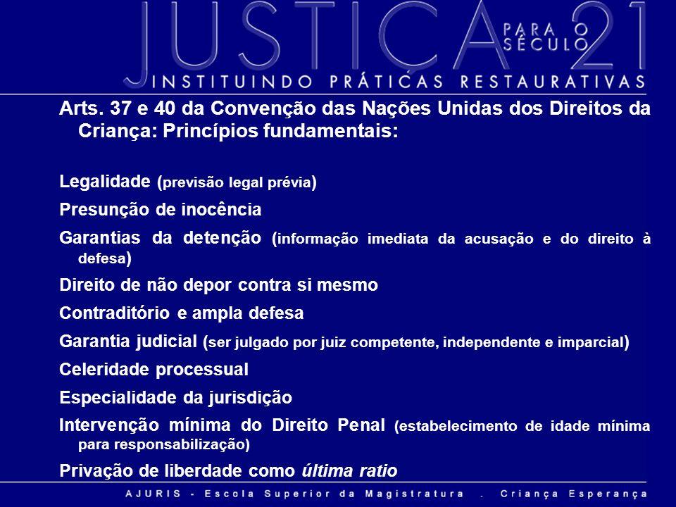 Arts. 37 e 40 da Convenção das Nações Unidas dos Direitos da Criança: Princípios fundamentais: Legalidade ( previsão legal prévia ) Presunção de inocê