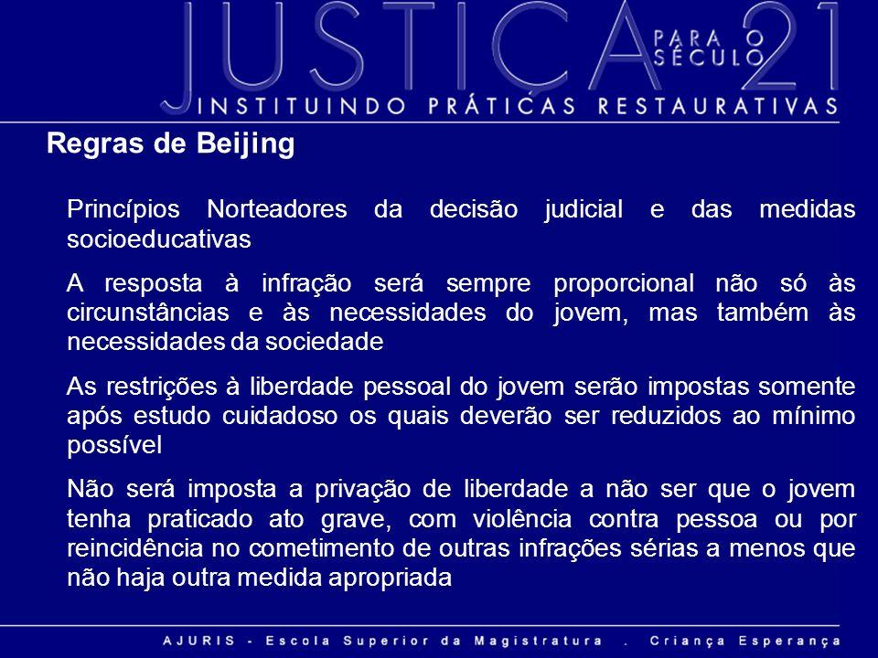 Regras de Beijing Princípios Norteadores da decisão judicial e das medidas socioeducativas A resposta à infração será sempre proporcional não só às ci