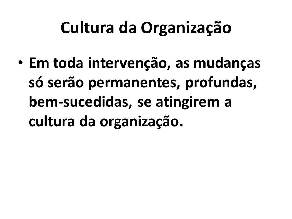 Cultura da Organização Em toda intervenção, as mudanças só serão permanentes, profundas, bem-sucedidas, se atingirem a cultura da organização.