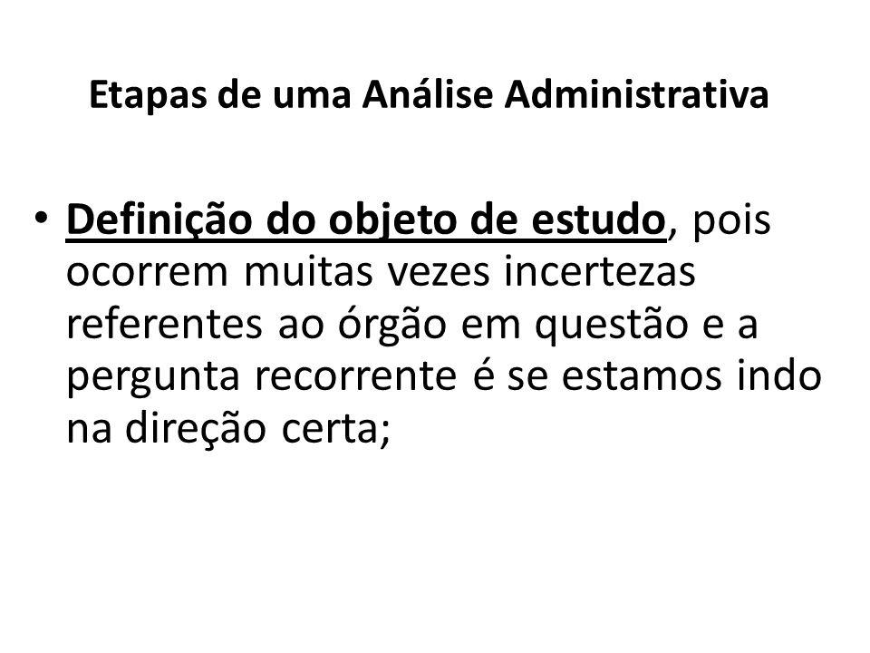 Etapas de uma Análise Administrativa Definição do objeto de estudo, pois ocorrem muitas vezes incertezas referentes ao órgão em questão e a pergunta r