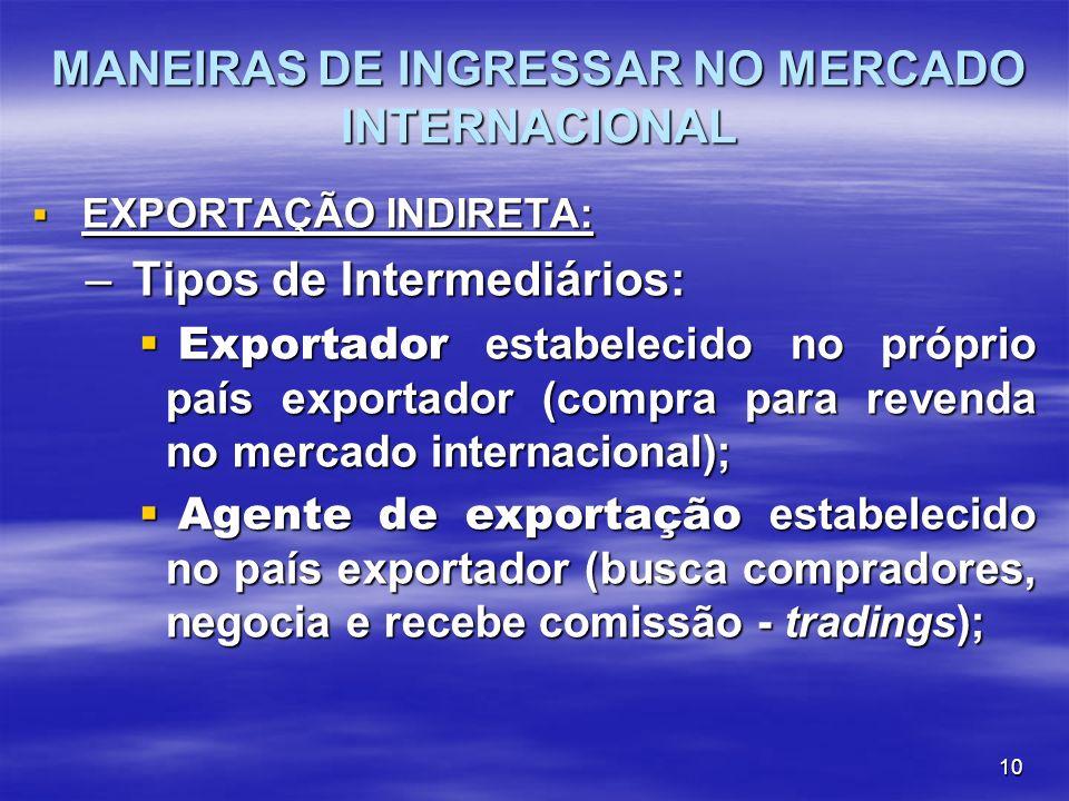 10 MANEIRAS DE INGRESSAR NO MERCADO INTERNACIONAL EXPORTAÇÃO INDIRETA: EXPORTAÇÃO INDIRETA: – Tipos de Intermediários: Exportador estabelecido no próp