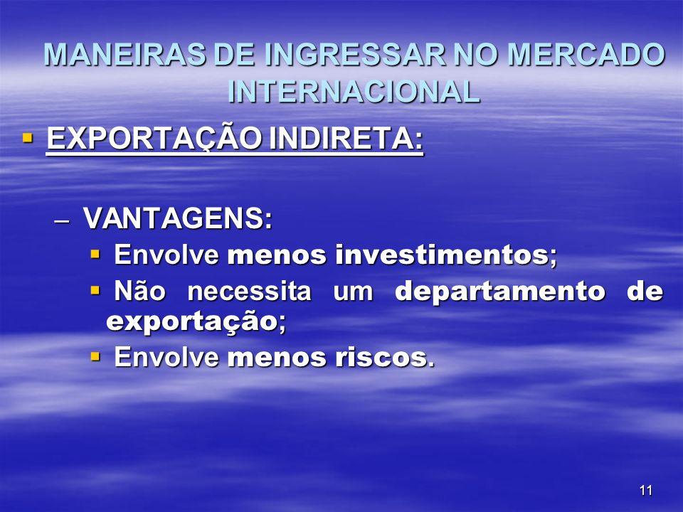 11 EXPORTAÇÃO INDIRETA: EXPORTAÇÃO INDIRETA: – VANTAGENS: Envolve menos investimentos ; Envolve menos investimentos ; Não necessita um departamento de