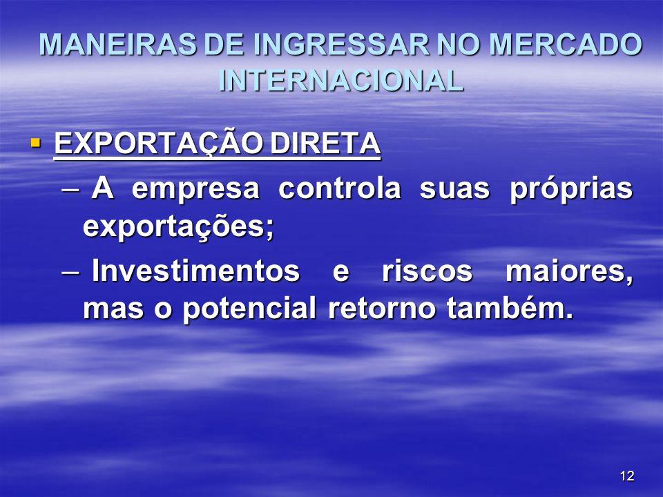 12 EXPORTAÇÃO DIRETA EXPORTAÇÃO DIRETA – A empresa controla suas próprias exportações; – Investimentos e riscos maiores, mas o potencial retorno també