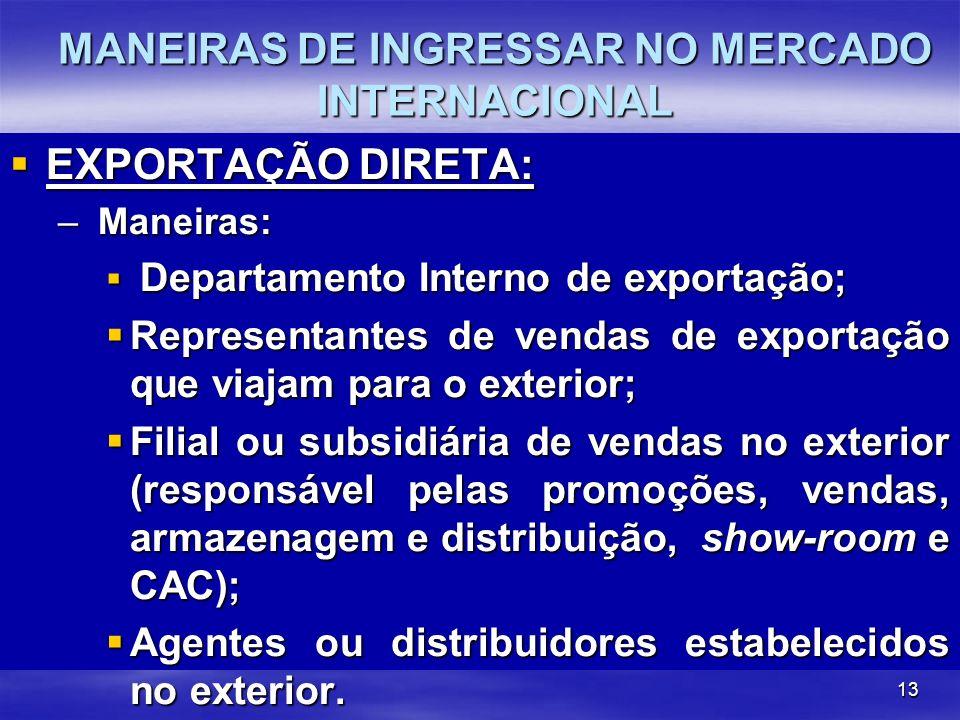 13 EXPORTAÇÃO DIRETA: EXPORTAÇÃO DIRETA: – Maneiras: Departamento Interno de exportação; Departamento Interno de exportação; Representantes de vendas