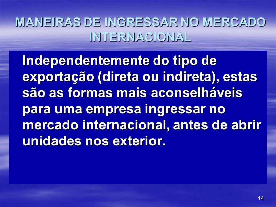 14 MANEIRAS DE INGRESSAR NO MERCADO INTERNACIONAL Independentemente do tipo de exportação (direta ou indireta), estas são as formas mais aconselháveis