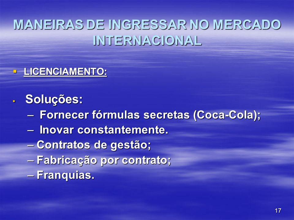 17 MANEIRAS DE INGRESSAR NO MERCADO INTERNACIONAL LICENCIAMENTO: LICENCIAMENTO: Soluções: Soluções: – Fornecer fórmulas secretas (Coca-Cola); – Inovar