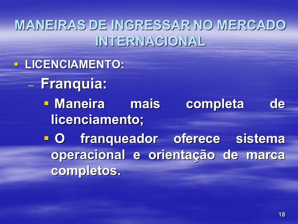 18 MANEIRAS DE INGRESSAR NO MERCADO INTERNACIONAL LICENCIAMENTO: LICENCIAMENTO: – Franquia: Maneira mais completa de licenciamento; Maneira mais compl