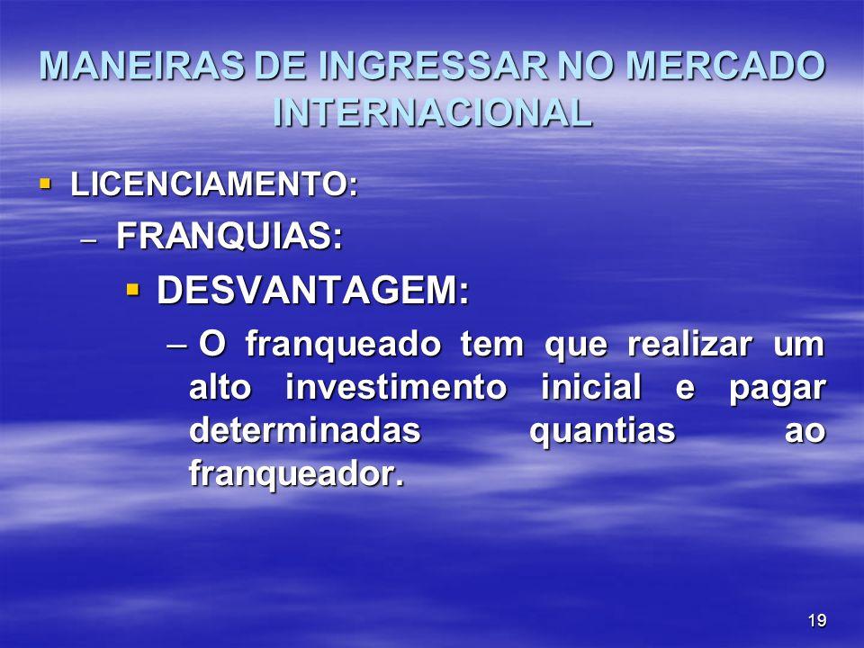 19 MANEIRAS DE INGRESSAR NO MERCADO INTERNACIONAL LICENCIAMENTO: LICENCIAMENTO: – FRANQUIAS: DESVANTAGEM: DESVANTAGEM: – O franqueado tem que realizar