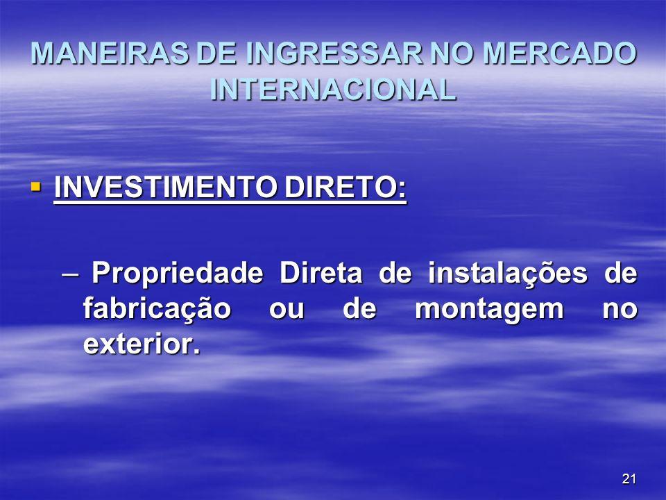 21 MANEIRAS DE INGRESSAR NO MERCADO INTERNACIONAL INVESTIMENTO DIRETO: INVESTIMENTO DIRETO: – Propriedade Direta de instalações de fabricação ou de mo