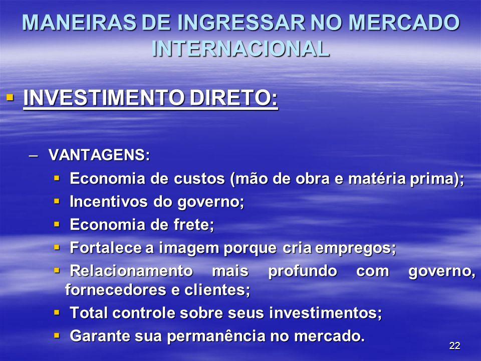 22 MANEIRAS DE INGRESSAR NO MERCADO INTERNACIONAL INVESTIMENTO DIRETO: INVESTIMENTO DIRETO: – VANTAGENS: Economia de custos (mão de obra e matéria pri