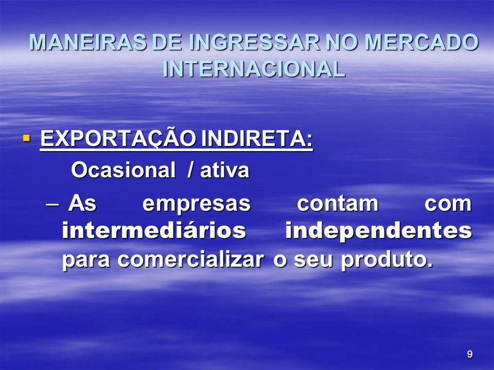 9 MANEIRAS DE INGRESSAR NO MERCADO INTERNACIONAL EXPORTAÇÃO INDIRETA: EXPORTAÇÃO INDIRETA: Ocasional / ativa – As empresas contam com intermediários i