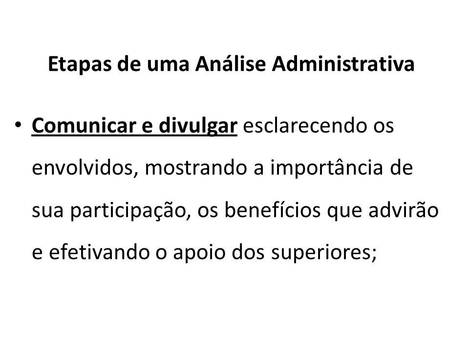 Etapas de uma Análise Administrativa Comunicar e divulgar esclarecendo os envolvidos, mostrando a importância de sua participação, os benefícios que a