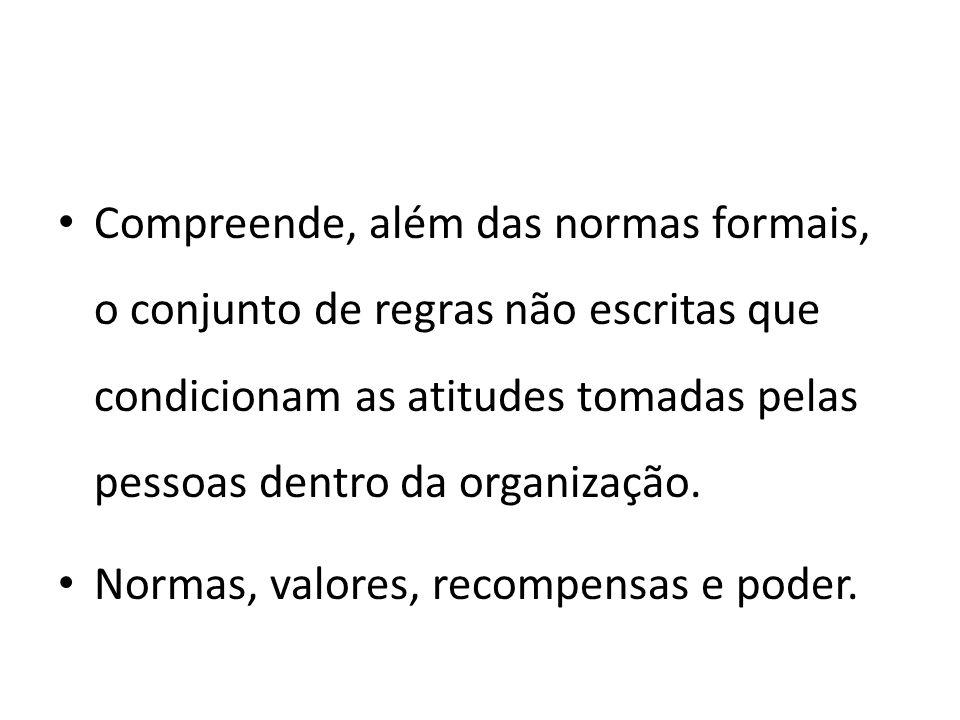 Compreende, além das normas formais, o conjunto de regras não escritas que condicionam as atitudes tomadas pelas pessoas dentro da organização. Normas