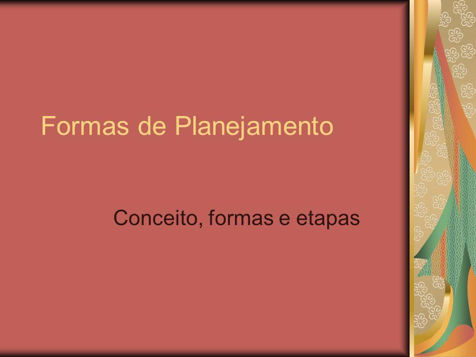 Formas de Planejamento Conceito, formas e etapas