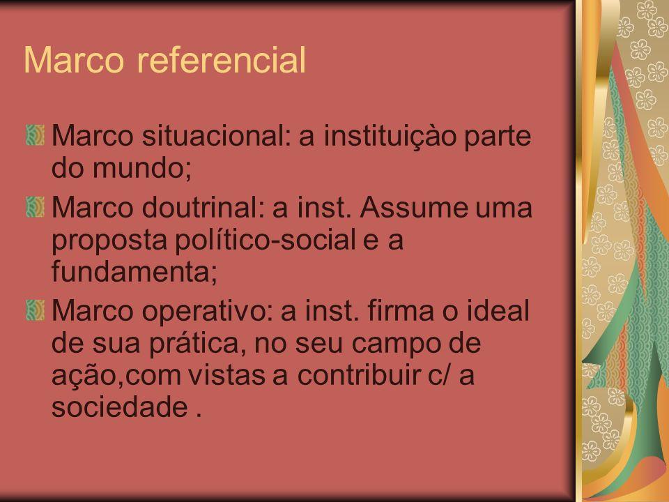 Marco referencial Marco situacional: a instituiçào parte do mundo; Marco doutrinal: a inst. Assume uma proposta político-social e a fundamenta; Marco