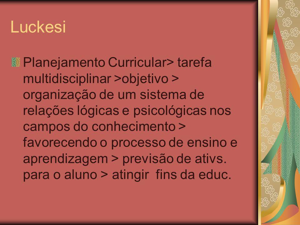 Luckesi Planejamento Curricular> tarefa multidisciplinar >objetivo > organização de um sistema de relações lógicas e psicológicas nos campos do conhec