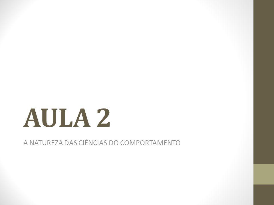 AULA 2 A NATUREZA DAS CIÊNCIAS DO COMPORTAMENTO