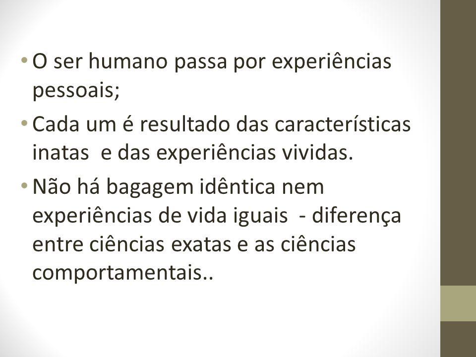 O ser humano passa por experiências pessoais; Cada um é resultado das características inatas e das experiências vividas.