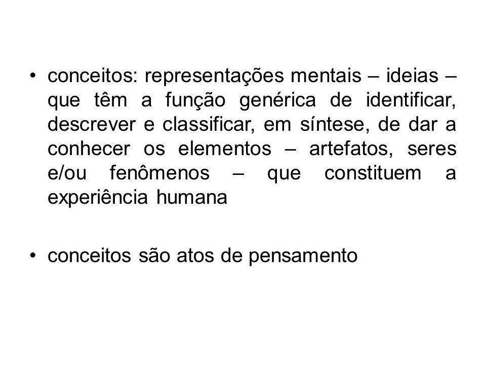 conceitos: representações mentais – ideias – que têm a função genérica de identificar, descrever e classificar, em síntese, de dar a conhecer os eleme