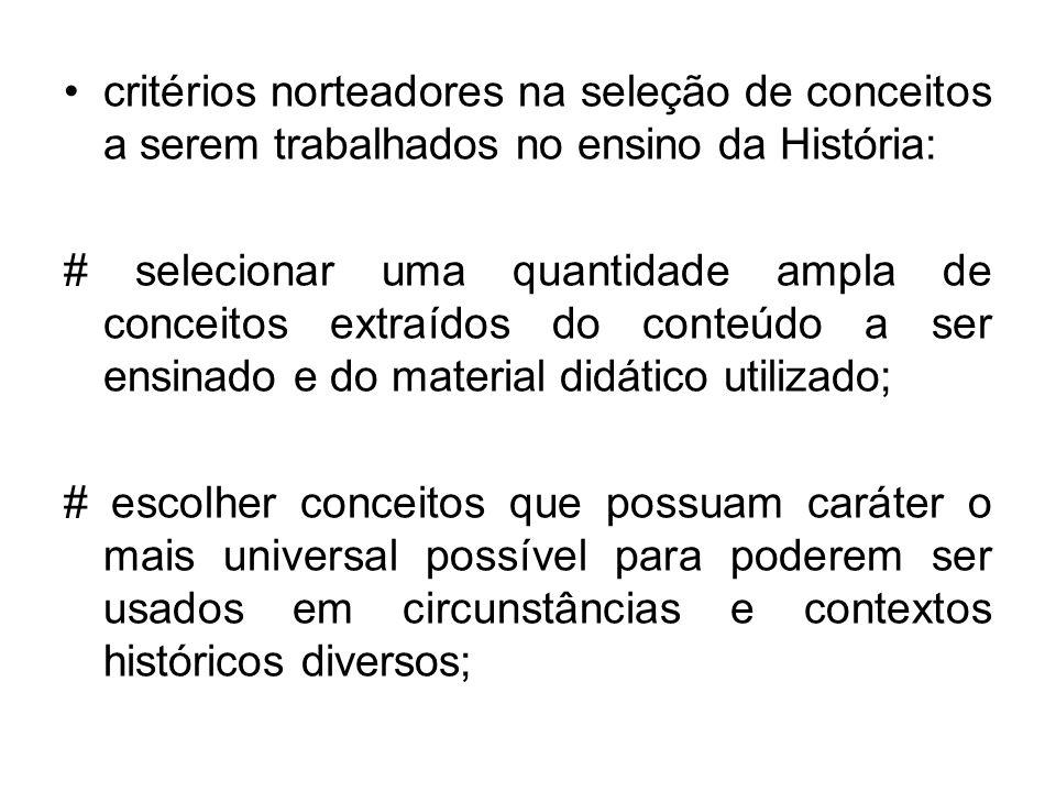 critérios norteadores na seleção de conceitos a serem trabalhados no ensino da História: # selecionar uma quantidade ampla de conceitos extraídos do c