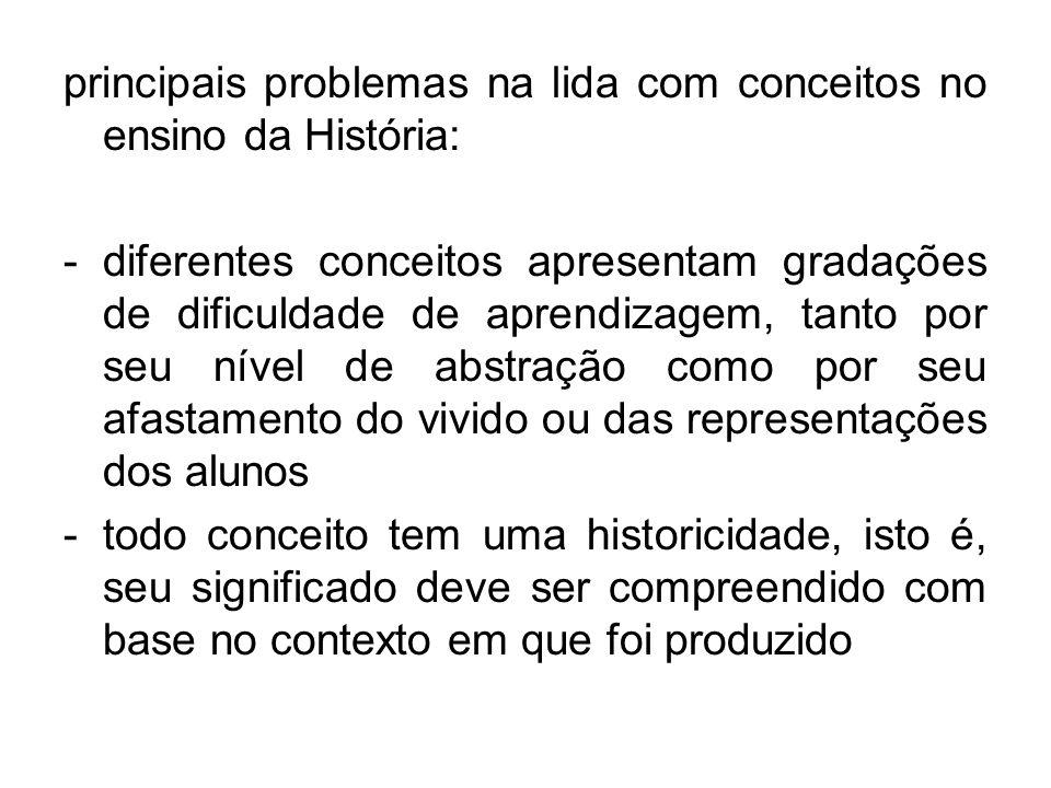 principais problemas na lida com conceitos no ensino da História: -diferentes conceitos apresentam gradações de dificuldade de aprendizagem, tanto por