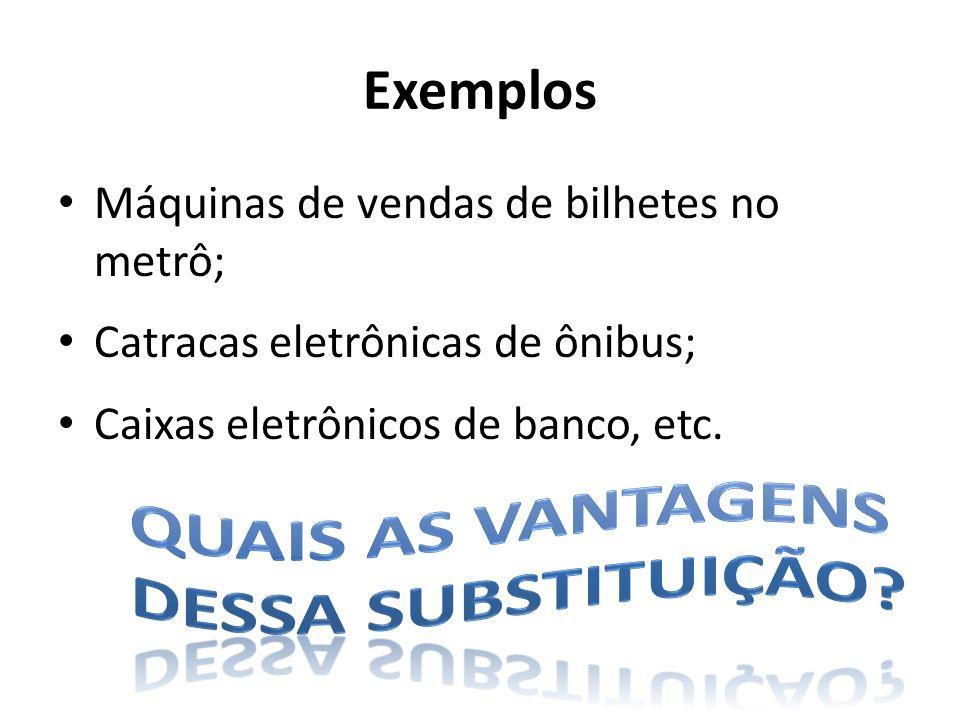 Exemplos Máquinas de vendas de bilhetes no metrô; Catracas eletrônicas de ônibus; Caixas eletrônicos de banco, etc.
