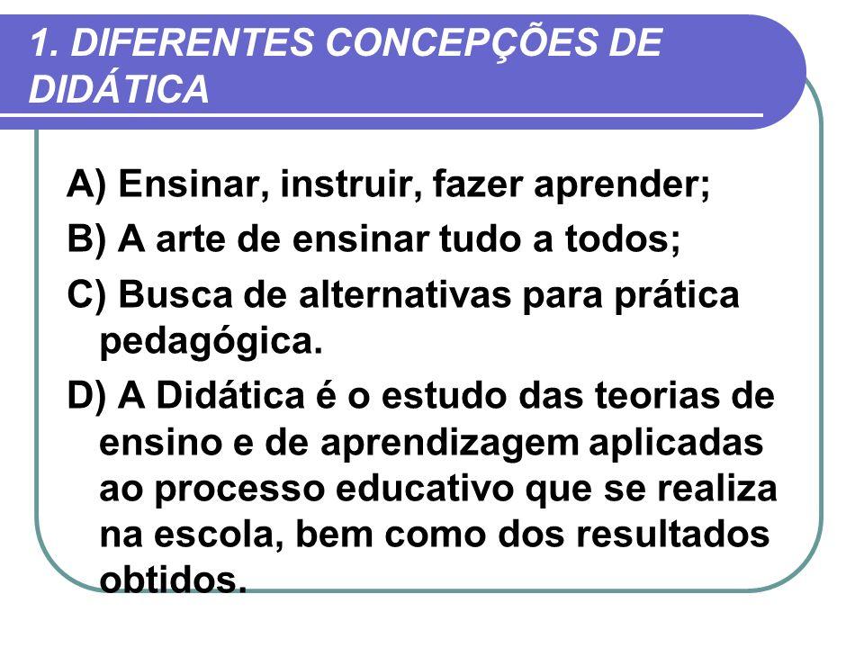 1. DIFERENTES CONCEPÇÕES DE DIDÁTICA A) Ensinar, instruir, fazer aprender; B) A arte de ensinar tudo a todos; C) Busca de alternativas para prática pe