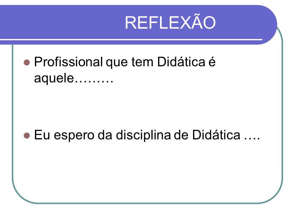 REFLEXÃO Profissional que tem Didática é aquele……… Eu espero da disciplina de Didática ….
