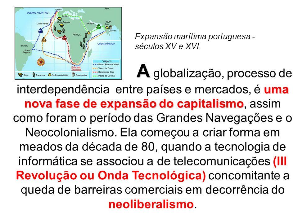 A uma nova fase de expansão do capitalismo A globalização, processo de interdependência entre países e mercados, é uma nova fase de expansão do capitalismo, assim como foram o período das Grandes Navegações e o Neocolonialismo.
