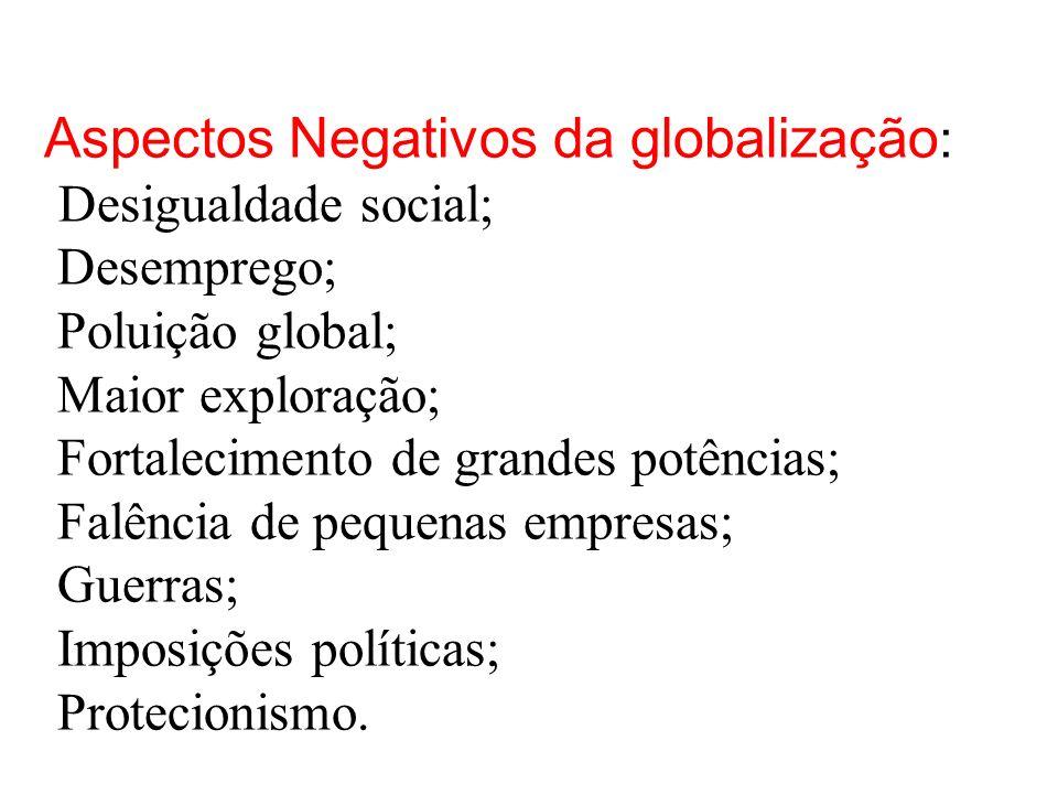 Aspectos Negativos da globalização : Desigualdade social; Desemprego; Poluição global; Maior exploração; Fortalecimento de grandes potências; Falência de pequenas empresas; Guerras; Imposições políticas; Protecionismo...