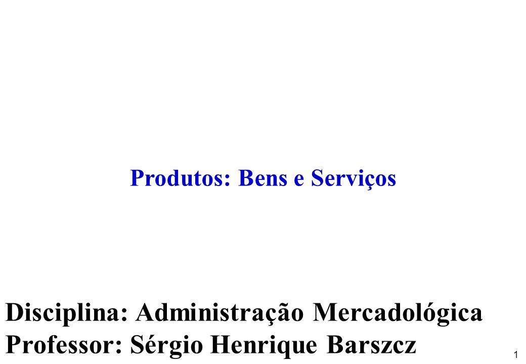 1 Disciplina: Administração Mercadológica Professor: Sérgio Henrique Barszcz Produtos: Bens e Serviços