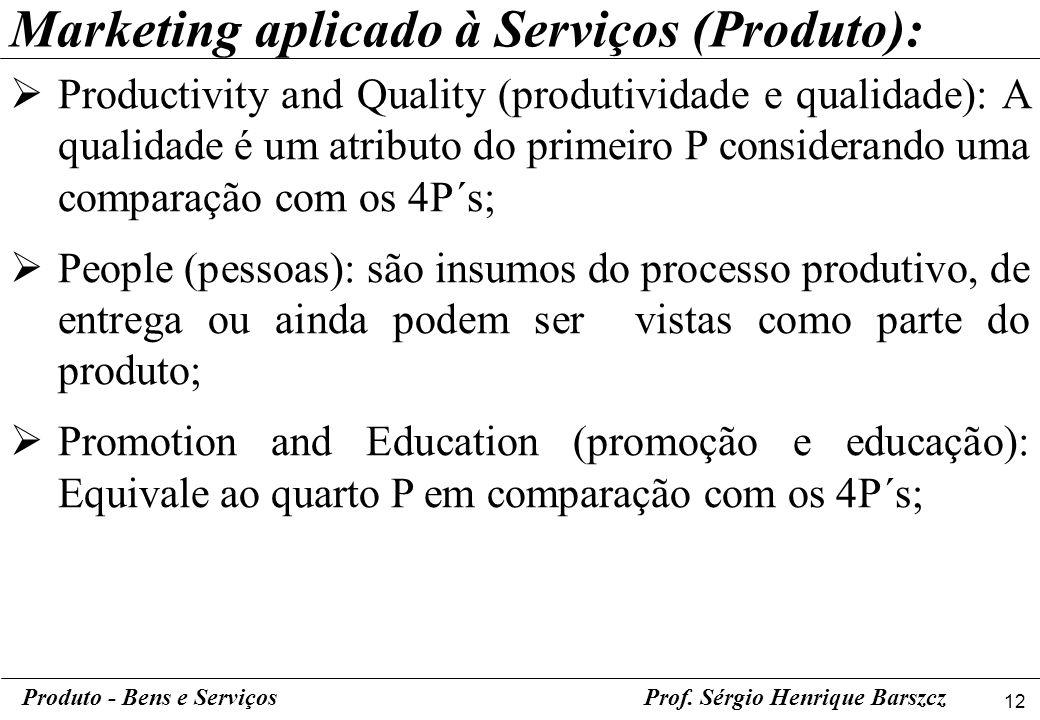 12 Produto - Bens e ServiçosProf. Sérgio Henrique Barszcz Productivity and Quality (produtividade e qualidade): A qualidade é um atributo do primeiro