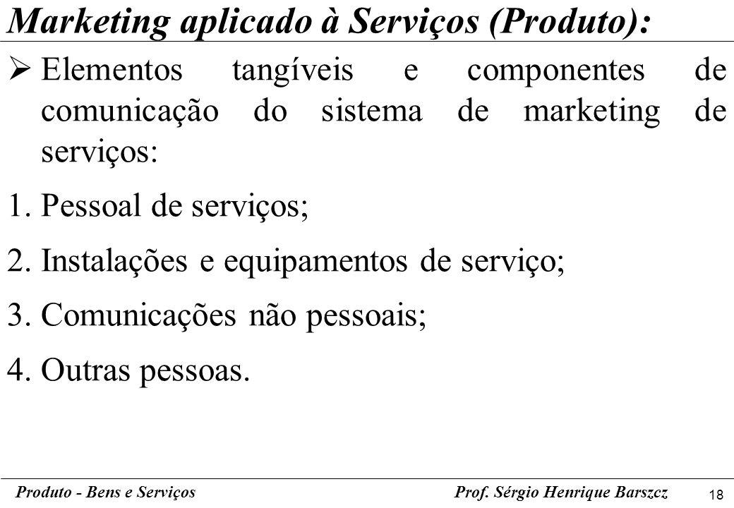 18 Produto - Bens e ServiçosProf. Sérgio Henrique Barszcz Elementos tangíveis e componentes de comunicação do sistema de marketing de serviços: 1.Pess