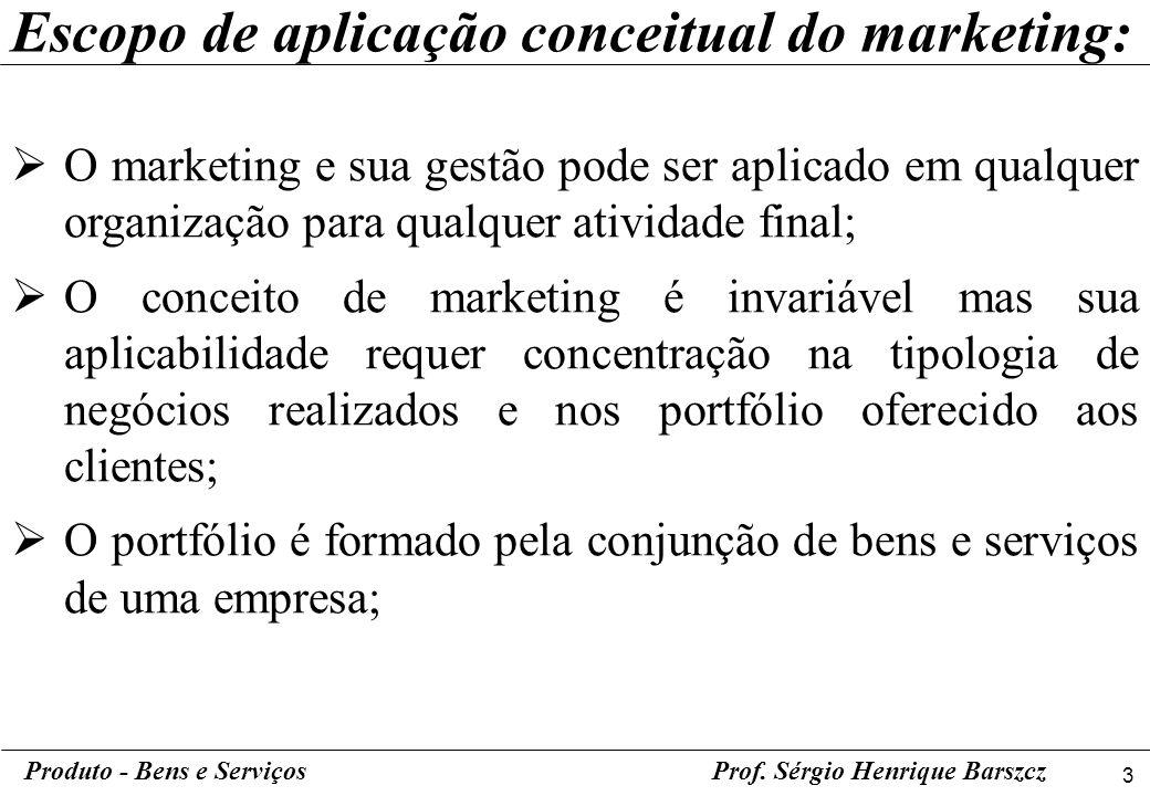 3 Produto - Bens e ServiçosProf. Sérgio Henrique Barszcz Escopo de aplicação conceitual do marketing: O marketing e sua gestão pode ser aplicado em qu