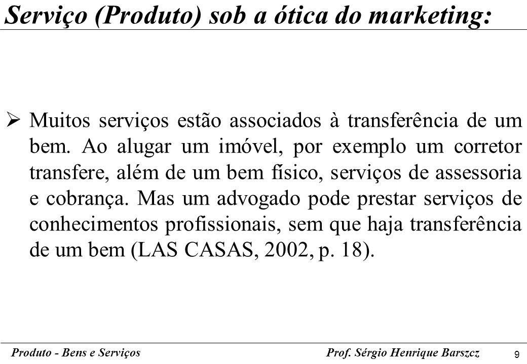 9 Produto - Bens e ServiçosProf. Sérgio Henrique Barszcz Muitos serviços estão associados à transferência de um bem. Ao alugar um imóvel, por exemplo