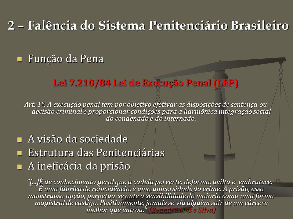 2 – Falência do Sistema Penitenciário Brasileiro Função da Pena Função da Pena Lei 7.210/84 Lei de Execução Penal (LEP) Art.