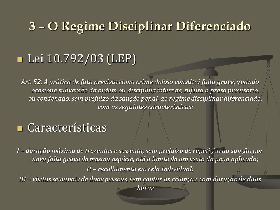 3 – O Regime Disciplinar Diferenciado Lei 10.792/03 (LEP) Lei 10.792/03 (LEP) Art.