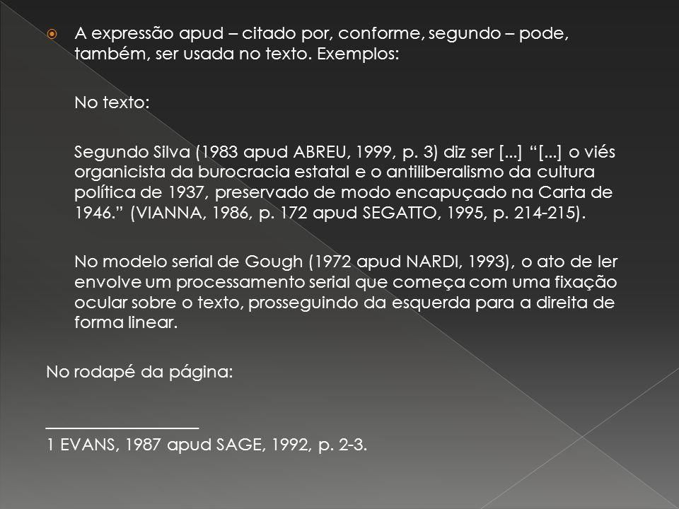A expressão apud – citado por, conforme, segundo – pode, também, ser usada no texto. Exemplos: No texto: Segundo Silva (1983 apud ABREU, 1999, p. 3) d