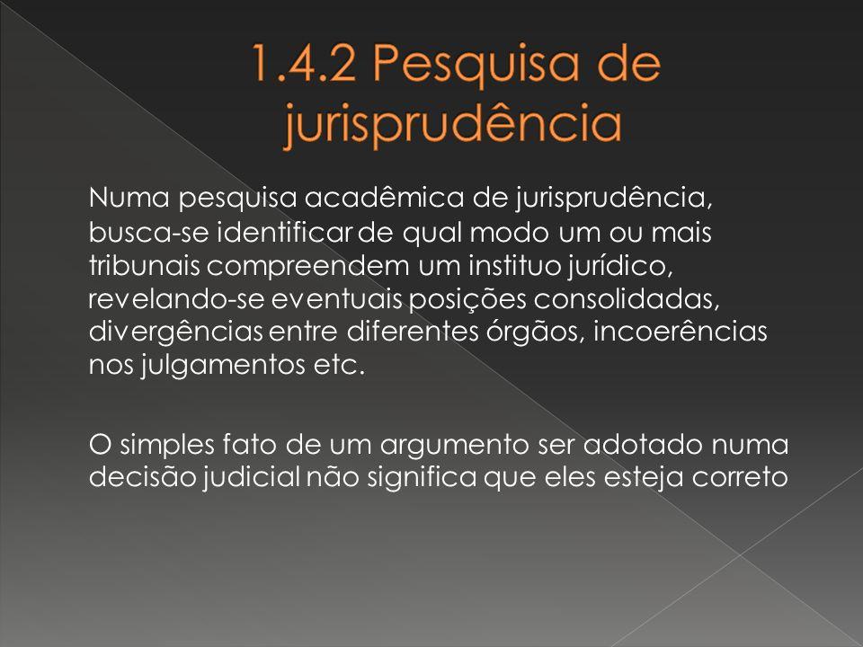 Numa pesquisa acadêmica de jurisprudência, busca-se identificar de qual modo um ou mais tribunais compreendem um instituo jurídico, revelando-se event