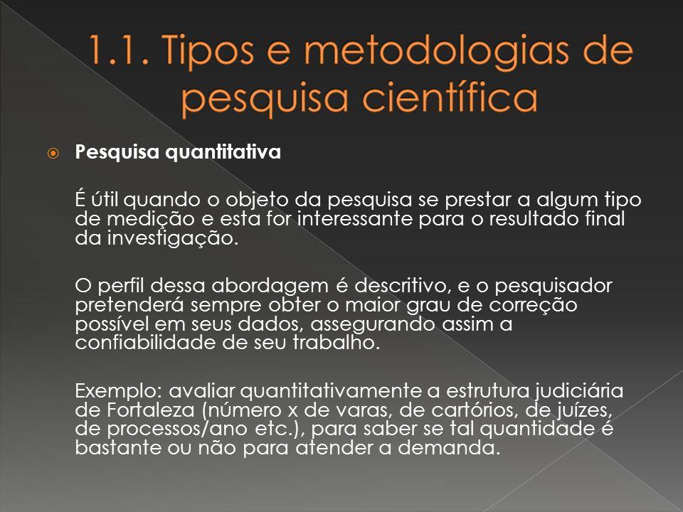 Pesquisa quantitativa É útil quando o objeto da pesquisa se prestar a algum tipo de medição e esta for interessante para o resultado final da investig