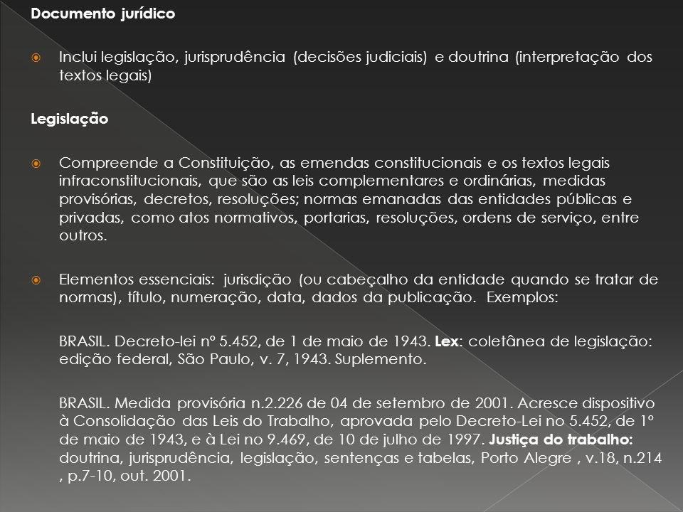 Documento jurídico Inclui legislação, jurisprudência (decisões judiciais) e doutrina (interpretação dos textos legais) Legislação Compreende a Constit