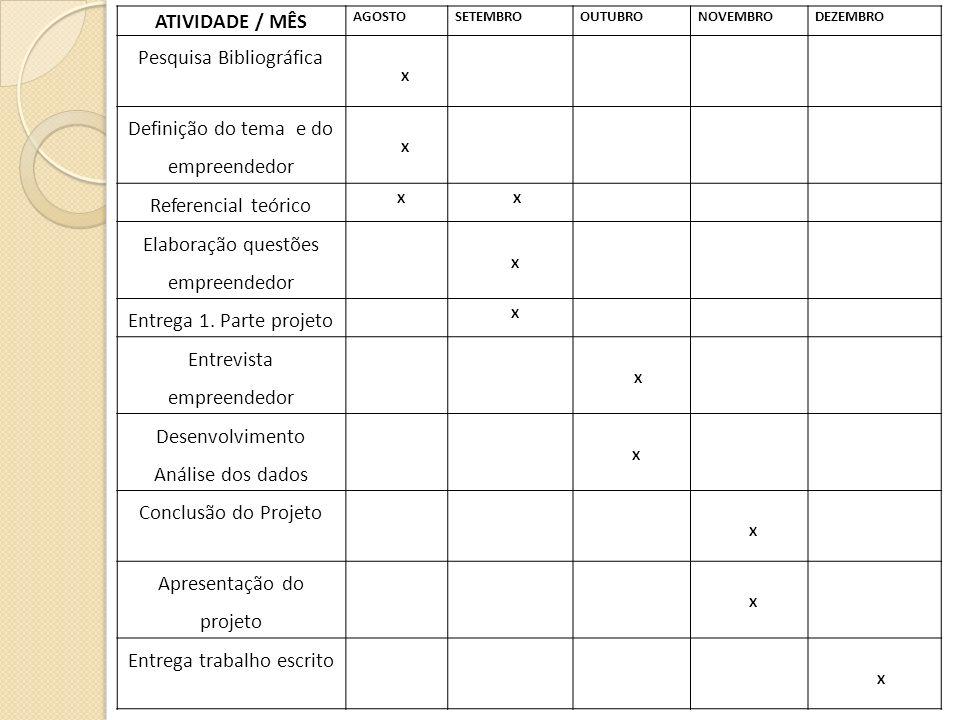 ATIVIDADE / MÊS AGOSTOSETEMBROOUTUBRONOVEMBRODEZEMBRO Pesquisa Bibliográfica X Definição do tema e do empreendedor X Referencial teórico X X Elaboraçã