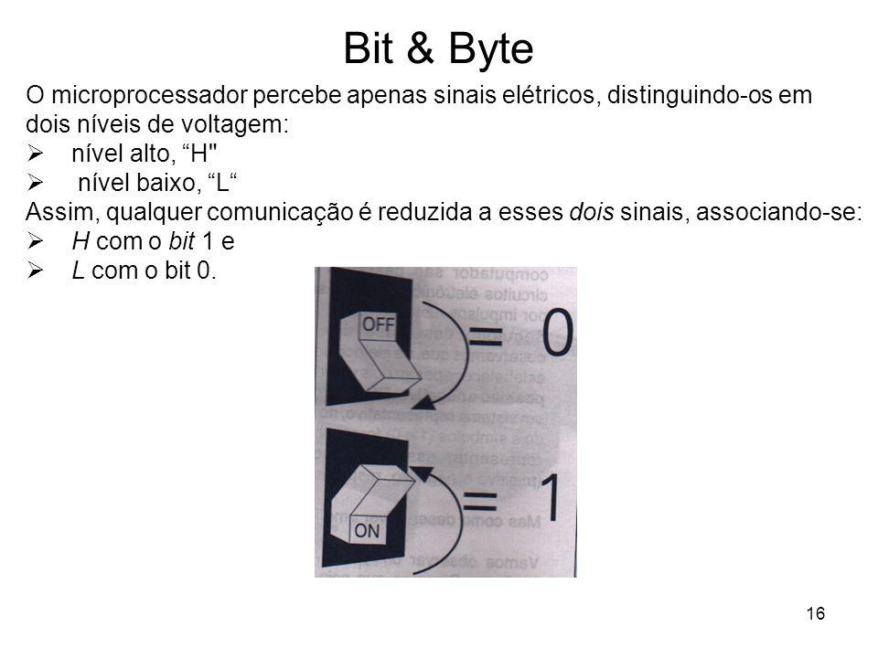 16 Bit & Byte O microprocessador percebe apenas sinais elétricos, distinguindo-os em dois níveis de voltagem: nível alto, H