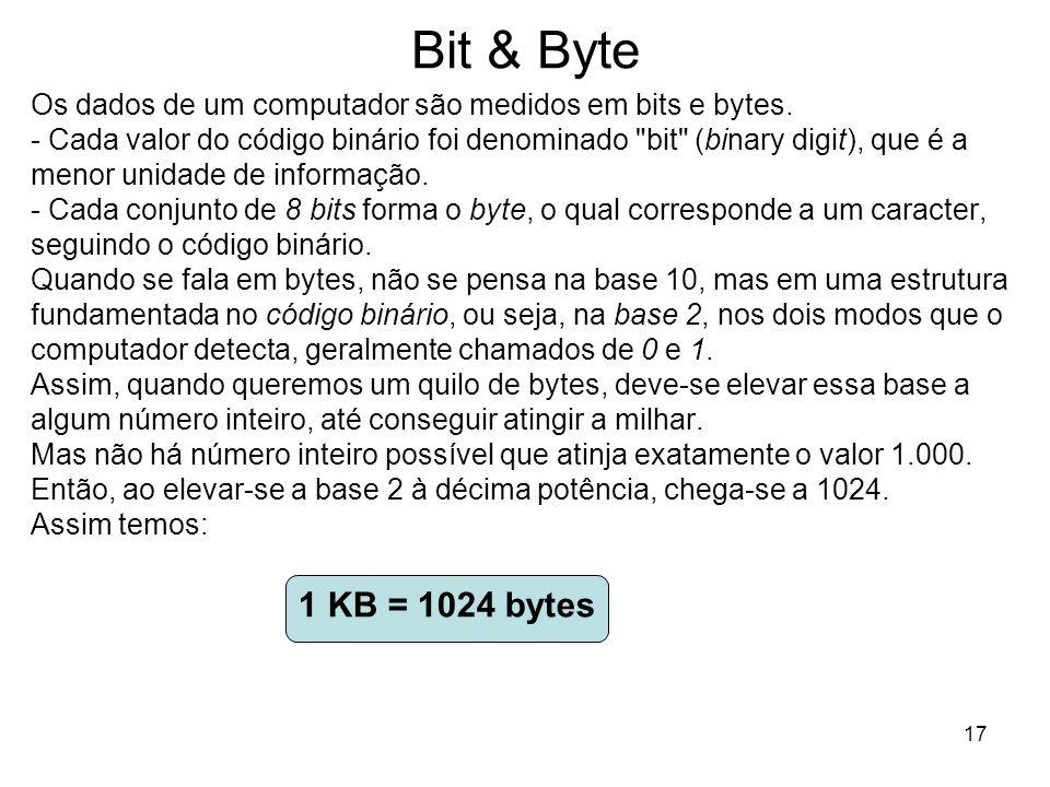 17 Bit & Byte Os dados de um computador são medidos em bits e bytes. - Cada valor do código binário foi denominado