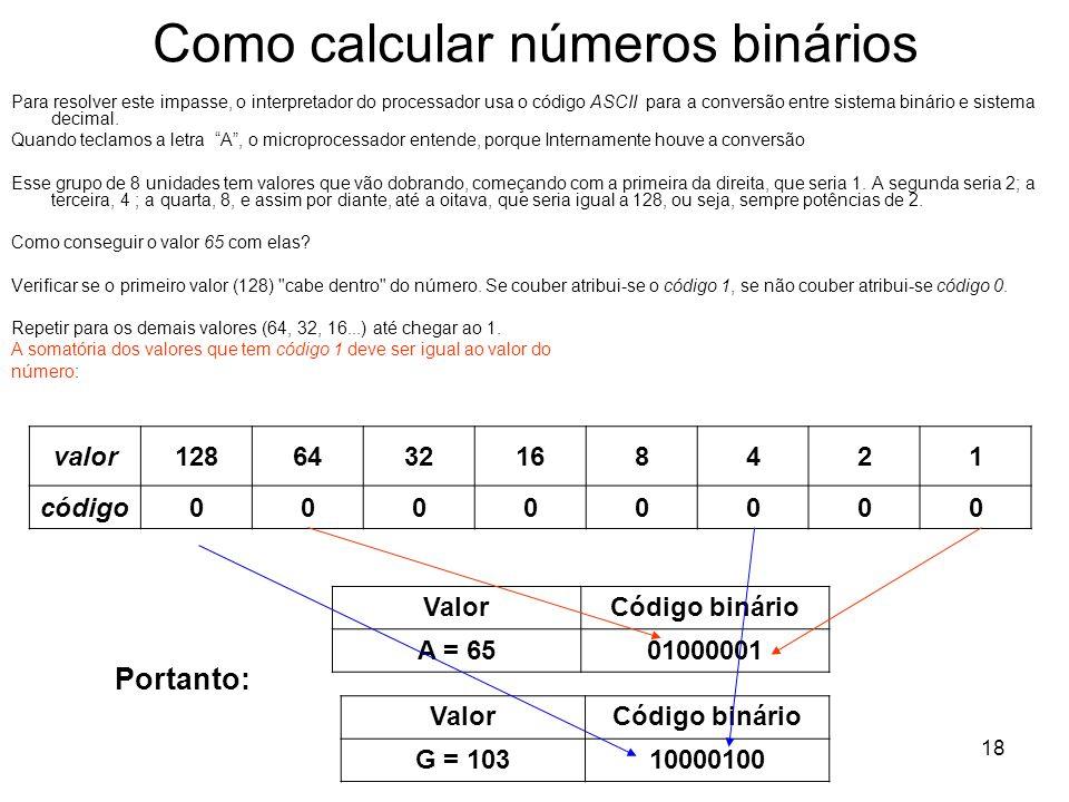 18 Como calcular números binários Para resolver este impasse, o interpretador do processador usa o código ASCII para a conversão entre sistema binário